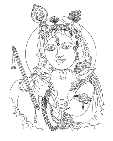 Portrait of an Indian deity with a calf