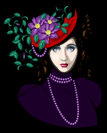 mysterious lady in hat with flowers Illustration