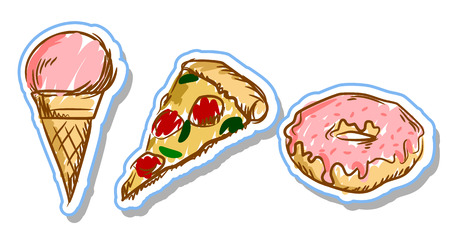 set of stickers pizza, ice cream, donut, doodle style