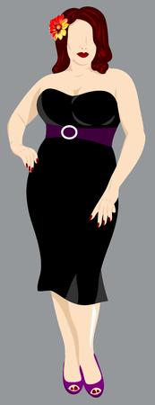 portrait of a fat girl in a full-length dress Illustration