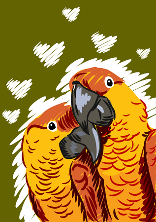 A pair of macaw parrot lovers, flat picture