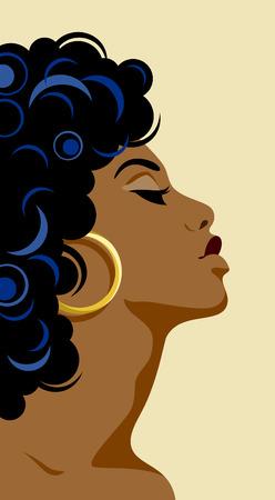 Flat portrait of a beautiful dark-skinned girl Illustration