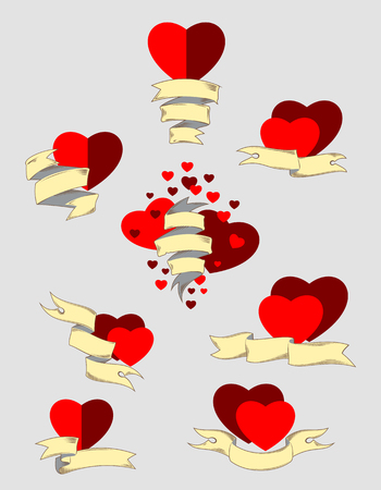 Valentines Day Hearts and Banners Set Illustration