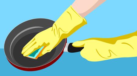 Sponge the pan 写真素材 - 122683802