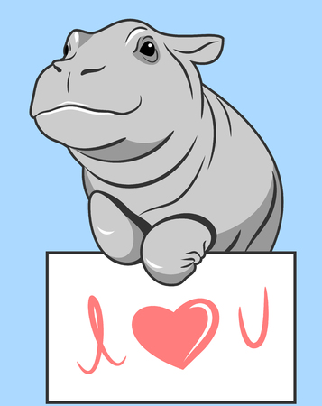 cute hippo with valentine day postcard Illustration