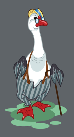 Portrait of a goose in trousers with suspenders and a cane Illustration