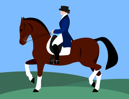 Horsewoman on horseback (rider), flat design Stock Illustratie
