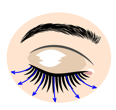 Eyes with extended artificial eyelashes