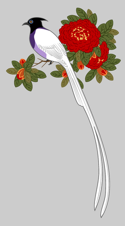 Bird on a branch of blooming red roses