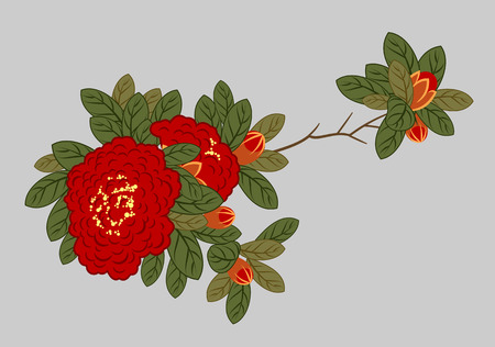 A branch of blooming red roses Stock Vector - 126885190