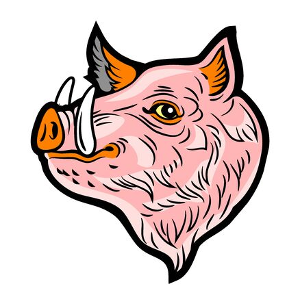 Cute, good-natured pink boar