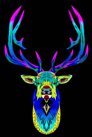 Unusual, bright, multi-colored portrait of a deer Illustration