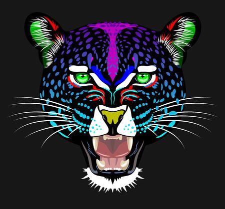 Unusual, rainbow portrait of a leopard 일러스트