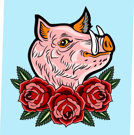 Cute, good-natured pink wild boar old-school style tattoo