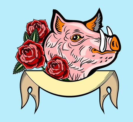 Cute, good-natured pink hog style old school tattoo, with red roses and a banner Stock Vector - 130854585