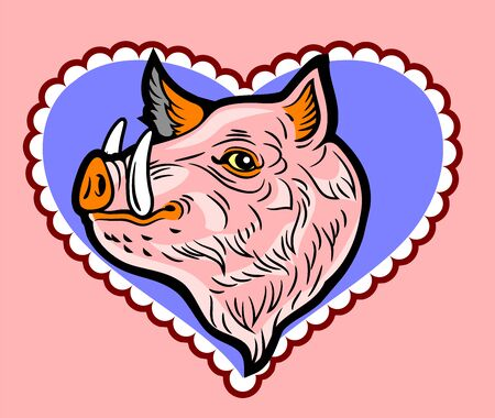 Cute, good-natured pink wild boar in a frame in the shape of a heart Illustration