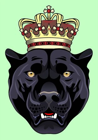 Portrait of a black panther in a golden crown