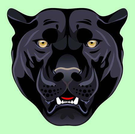 Portrait of a black panther Stock Illustratie
