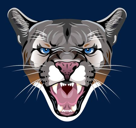 Portrait of a grinning cougar Stock Illustratie