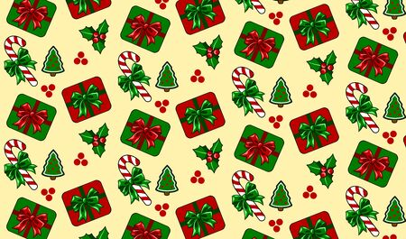 Christmas background with Christmas trees, sweets and gifts.