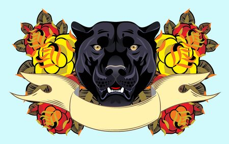 Image of a black panther in flowers in an old school style Stock Illustratie