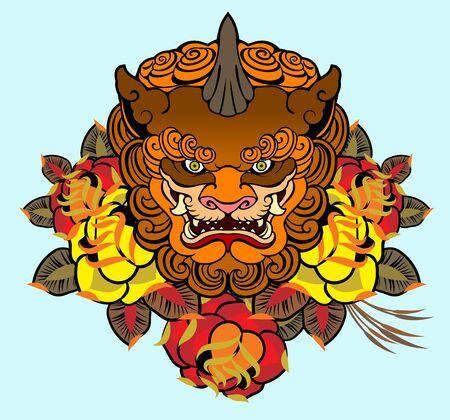 Image of a Japanese deity in flowers in an old school style