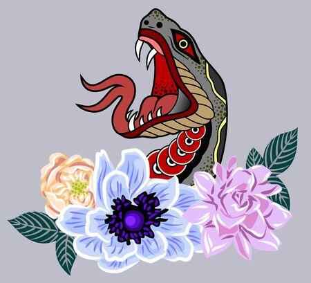 Ritratto vettoriale di un serpente pronto a mordere, personaggio, mascotte
