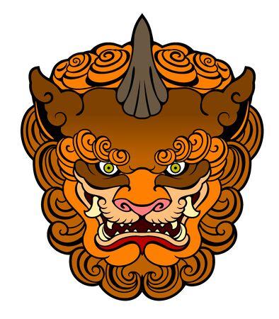 Portrait d'un léopard de chien de divinité japonaise, garde Vecteurs