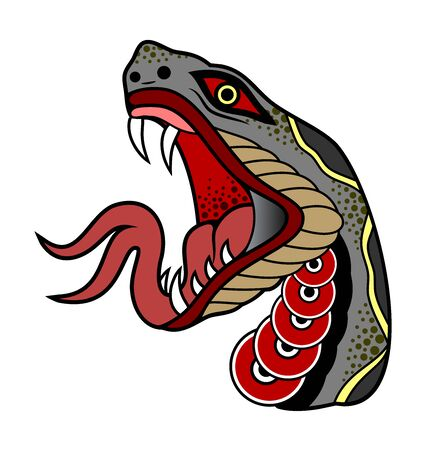 Vector portrait of a snake ready to bite, character, mascot