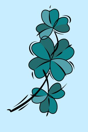 Vector image in old school style clover sprig Stock Illustratie