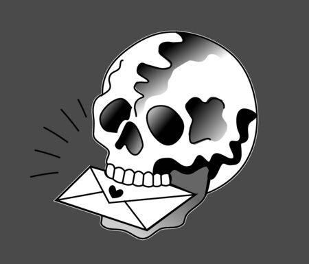 Pirate skull with a letter in his teeth