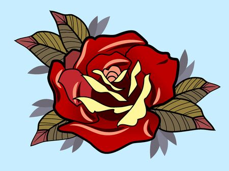 Blooming red rose, vector image