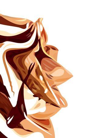 Appetizing vector image of chocolate and vanilla ice cream. Illusztráció