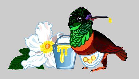 The image of an exotic bird hummingbird Stock Illustratie