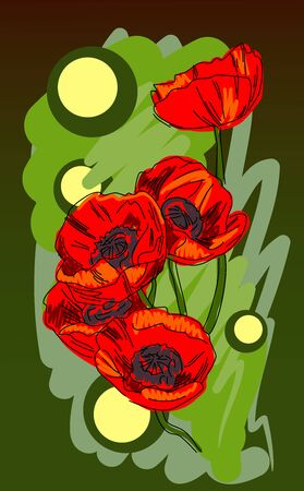 Blooming poppies on a green background, sketch, vector
