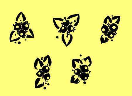 Set of vector silhouettes of flowers.