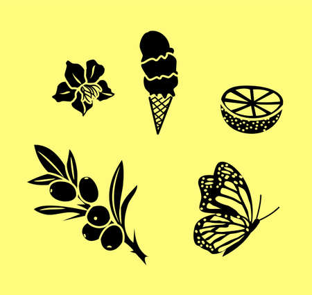Set of vector summer silhouettes - flower, ice cream, butterfly, lemon, olive branch.  イラスト・ベクター素材