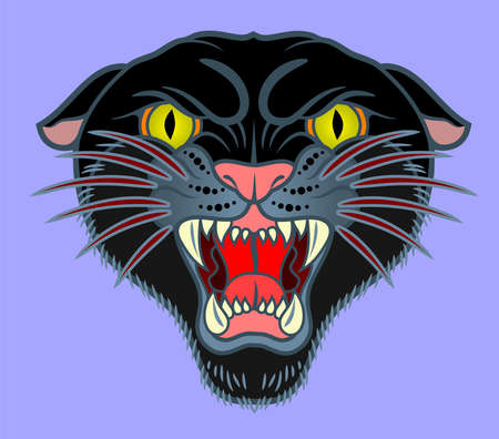 portrait of grinning black panther in old school style tattoo tattoo, vector art