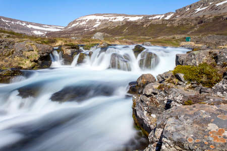 Magnificent stream of Dynjandi waterfall in the Westfjords, Iceland