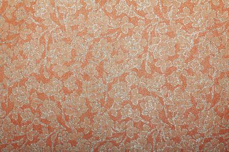 printed material: peach orange floral glitter  handmade art paper