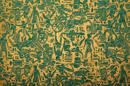 blue golden handmade art paper with tribal print Stock Photo - 10223131