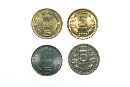 different five rupee indian coins photo