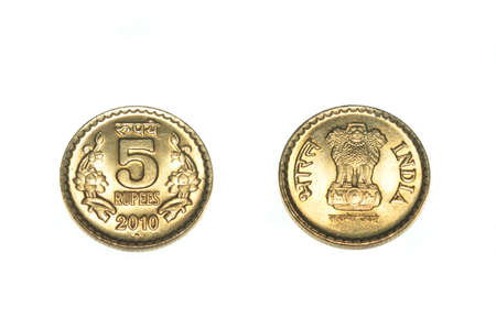indian currency: moneda India Rupia cinco