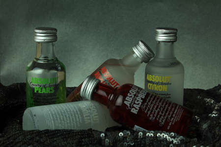 traditionally russian: 5 Miniature bottles of Absolut vodka in different flavors Editorial