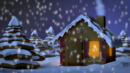 Lebkuchenhaus in Winterlandschaft Standard-Bild