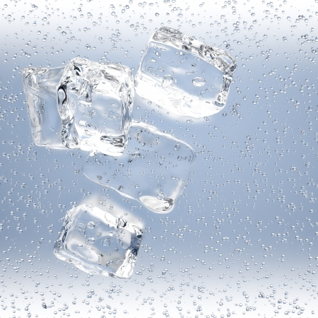 longdrink: 3D rendering of ice cubes with water drops on blue background