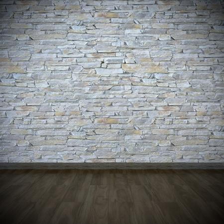 layered stone wall with dark wooden floor Standard-Bild