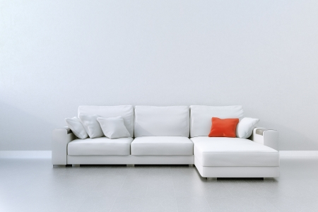 White Couch With Red Pillow
