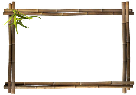 green bamboo: Bamboo frame brown landscape