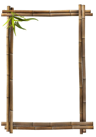 bamboo leaves: Bamboo frame brown portrait Stock Photo